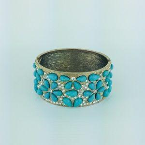 Turquoise Color Floral Rhinestone Clamper Bracelet
